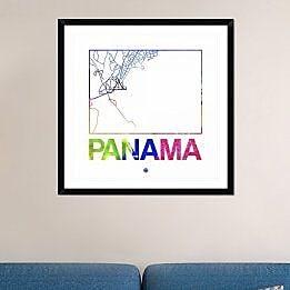Naxart 'Panama Watercolor Street Map' Framed Graphic Art Print; 36'' H x 36'' W x 1.5'' D