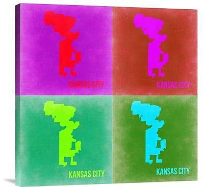 Naxart 'Kansas City Pop Art Map 2' Graphic Art Print on Canvas; 18'' H x 18'' W x 1.5'' D