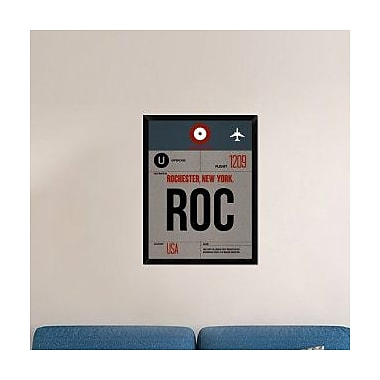 Naxart 'ROC Rochester Luggage Tag I' Framed Graphic Art Print on Canvas; 34'' H x 26'' W x 1.5'' D