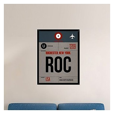 Naxart 'ROC Rochester Luggage Tag I' Framed Graphic Art Print on Canvas; 42'' H x 32'' W x 1.5'' D