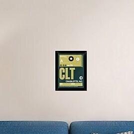 Naxart 'CLT Charlotte Luggage Tag II' Framed Graphic Art Print on Canvas; 18'' H x 14'' W x 1.5'' D