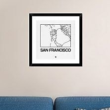 Naxart 'White Map of San Francisco' Framed Graphic Art Print; 24'' H x 24'' W x 1.5'' D