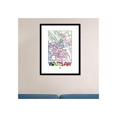 Naxart 'Warsaw Watercolor Street Map' Framed Graphic Art Print; 38'' H x 30'' W x 1.5'' D