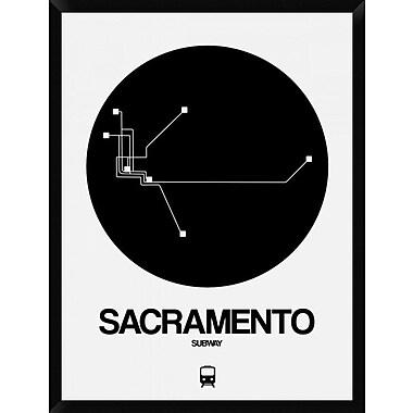 Naxart 'Sacramento Black Subway Map' Framed Graphic Art Print on Canvas; 42'' H x 32'' W x 1.5'' D