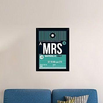 Naxart 'MRS Marseille Luggage Tag II' Framed Graphic Art Print on Canvas; 34'' H x 26'' W x 1.5'' D