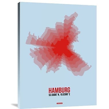 Naxart 'Hamburg Radiant Map 1' Graphic Art Print on Canvas; 16'' H x 12'' W x 1.5'' D