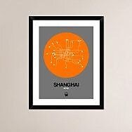 Naxart 'Shanghai Orange Subway Map' Framed Graphic Art Print; 30'' H x 24'' W x 1.5'' D