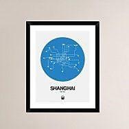 Naxart 'Shanghai Blue Subway Map' Framed Graphic Art Print; 30'' H x 24'' W x 1.5'' D