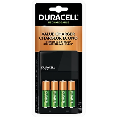 Duracell® Battery Charger Ion Speed 1000 with 4 AA Premium Rechargeable Batteries