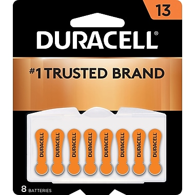 Duracell® 1.4 Volt Hearing Aid Zinc Air EasyTab Batteries, Size 13, 8/Pack