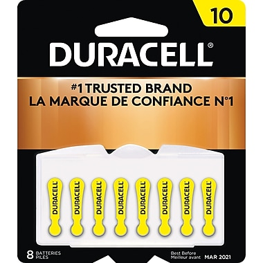 Duracell® 1.4 Volt Hearing Aid Zinc Air EasyTab Batteries, Size 10, 8/Pack