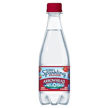 ARROWHEAD® Sparkling Mountain Spring Water, Strawberry 16.9-ounce Plastic Bottle, 24/Case
