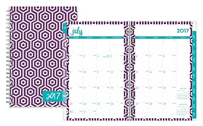 2017-2018 Dabney Lee for Blue Sky 5x8 Weekly/Monthly Planner, Hexagon Deep Purple (103189)