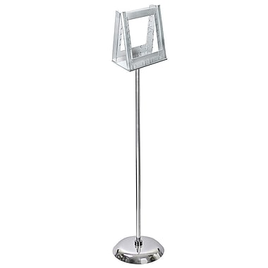 Azar Displays 2-Pocket Acrylic Literature Holder with Metal Pole and Stand for 8.5
