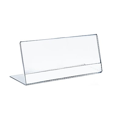 Azar Displays Horizontal Slanted, L-Shape Acrylic Sign Holder, 10/Pack
