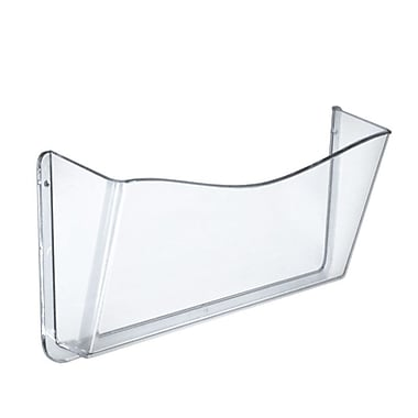 Azar Displays Clear Single-Pocket Wall File with Wallmount, 4/Pack (250025)