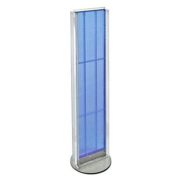Azar Displays – Présentoir à 2 panneaux perforés, 2 côtés à canaux en C, base tournante, bleu (700288-BLU)