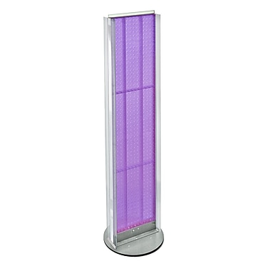 Azar Displays 2-Sided Pegboard Floor Display, 2 C-Channel Sides, Revolving Base, Purple (700288-PUR)