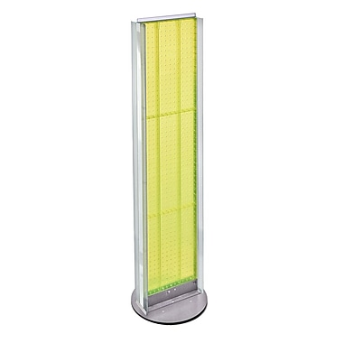 Azar Displays 2-Sided Pegboard Floor Display, 2 C-Channel Sides, Revolving Base, Yellow (700288-YEL)