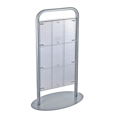 Azar Displays 2-Sided Metal Tube Pegboard Floor Display, Clear (700292-CLR)