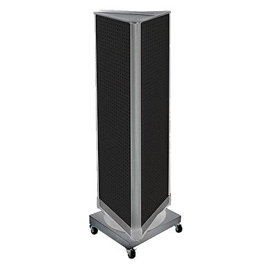 Azar Displays – Présentoir en tour à 3 panneaux perforés, base rotative à roulettes, noir (700452-BLK)