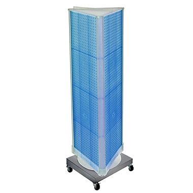 Azar Displays 3-Sided Pegboard Tower Floor Display, Revolving Wheeled Base, Blue (700452-BLU)