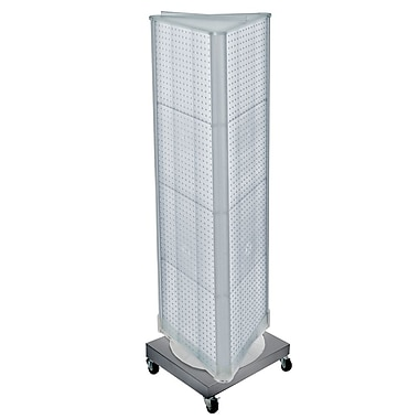 Azar Displays 3-Sided Pegboard Tower Floor Display, Revolving Wheeled Base, Clear (700452-CLR)