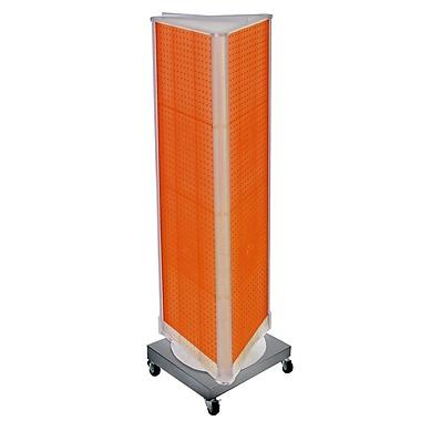 Azar Displays – Présentoir en tour à 3 panneaux perforés, base rotative à roulettes, orange (700452-ORG)