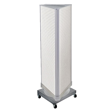 Azar Displays 3-Sided Pegboard Tower Floor Display, Revolving Wheeled Base, White (700452-WHT)