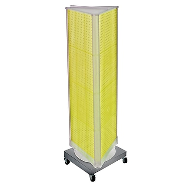 Azar Displays 3-Sided Pegboard Tower Floor Display, Revolving Wheeled Base, Yellow (700452-YEL)