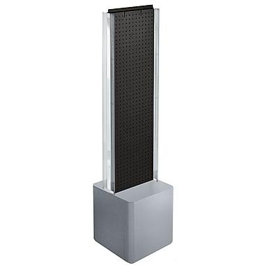 Azar Displays – Présentoir de plancher à 2 panneaux perforés, glissières en C et piédestal, noir (700728-BLK)
