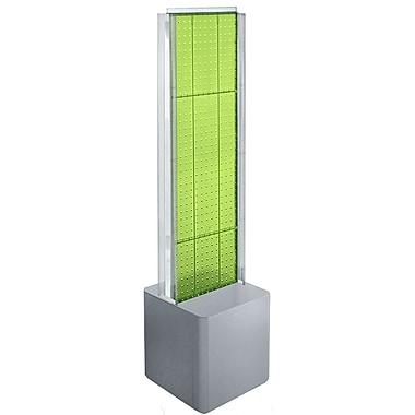 Azar Displays – Présentoir de plancher à 2 panneaux perforés, glissières en C et piédestal, vert (700728-GRE)
