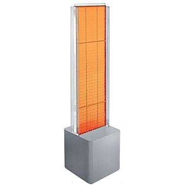Azar Displays 2-Sided Pegboard Floor Display, C-Channels Floor Display, Studio Base, Orange (700728-ORG)
