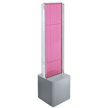 Azar Displays 2-Sided Pegboard Floor Display, C-Channels Floor Display, Studio Base, Pink (700728-PNK)