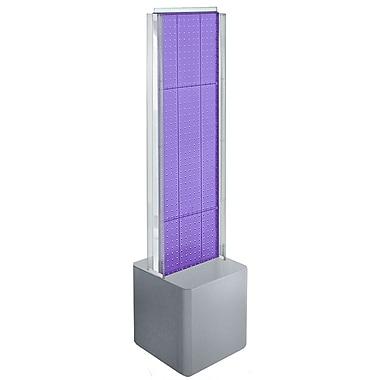 Azar Displays – Présentoir de plancher à 2 panneaux perforés, glissières en C et piédestal, violet (700728-PUR)