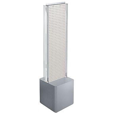 Azar Displays 2-Sided Pegboard Floor Display, C-Channels Floor Display, Studio Base, White (700728-WHT)