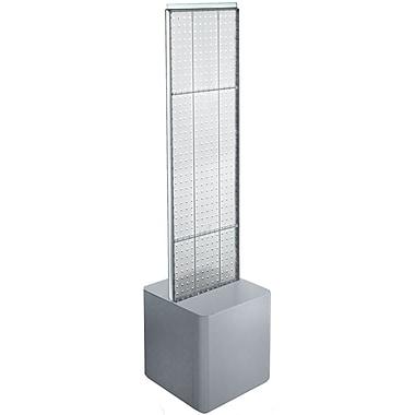Azar Displays – Présentoir de plancher à 2 panneaux perforés et piédestal, transparent (700729-CLR)