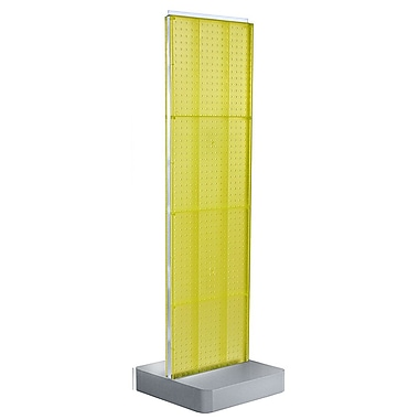 Azar Displays 4-Sided Pegboard Floor Display, Studio Base, Yellow (700770-YEL)