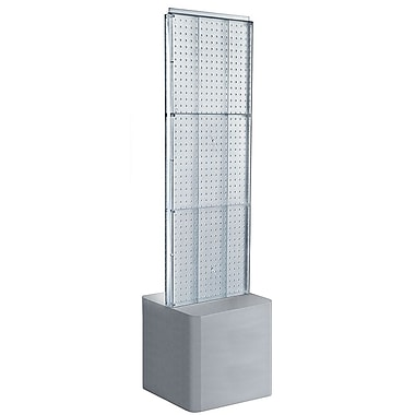Azar Displays – Présentoir à 2 panneaux perforés, base piédestal ajustable, transparent (700775-CLR)