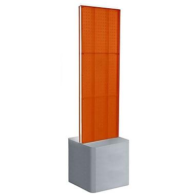 Azar Displays 2-Sided Pegboard Floor Display, Adjustable Studio Base, Orange (700775-ORG)