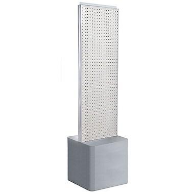 Azar Displays 2-Sided Pegboard Floor Display, Adjustable Studio Base, White (700775-WHT)