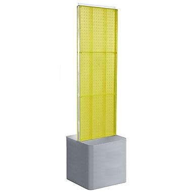 Azar Displays – Présentoir de plancher à 2 panneaux perforés et piédestal ajustable, jaune (700775-YEL)