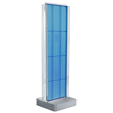 Azar Displays 2-Sided Pegboard Floor Display, C-Channel Sides, Studio Base, Blue (700778-BLU)