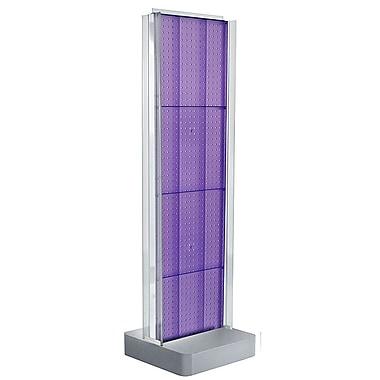 Azar Displays – Présentoir de plancher à 2 panneaux perforés, côtés à glissière en C et piédestal, violet (700778-PUR)
