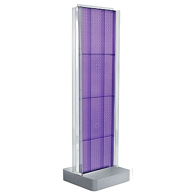 Azar Displays 2-Sided Pegboard Floor Display, C-Channel Sides, Studio Base, Purple (700778-PUR)