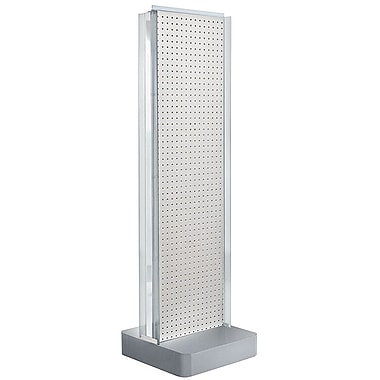 Azar Displays 2-Sided Pegboard Floor Display, C-Channel Sides, Studio Base, White (700778-WHT)