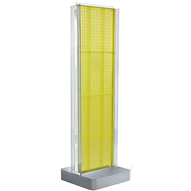 Azar Displays 2-Sided Pegboard Floor Display, C-Channel Sides, Studio Base, Yellow (700778-YEL)