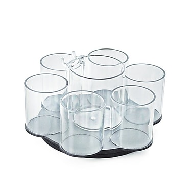 Azar Displays 6 Cup Counter Cosmetic Organizer with Cottonball Dispenser (222983)