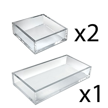 Azar Displays Deluxe Tray 3 Piece Set, Square Trays and Large Tray (556224)