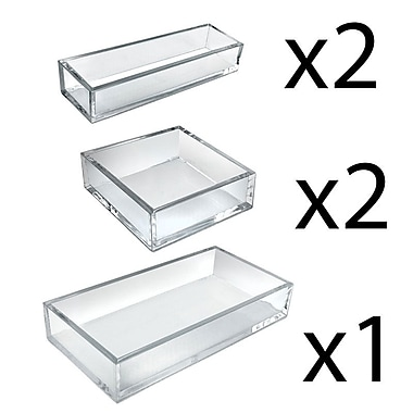 Azar Displays Deluxe Tray 5 Piece Set, Square Trays, Narrow Trays, and Large Tray (556226)